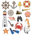 sea marine or nautical symbols lighthouse vector image vector image