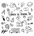 set of hand drawn doodle icons back to school on vector image