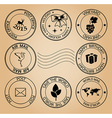set of post stamps for holidays vector image vector image