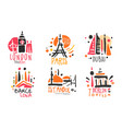 set red black logos for a travel agency vector image vector image