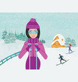 skiing in winter day vector image vector image