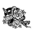 tattoo with rose and snake traditional black dot vector image vector image