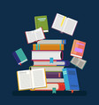 textbooks with tassel and stacked books vector image
