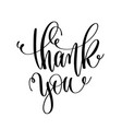 thank you - black and white hand lettering vector image vector image