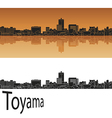 Toyama skyline in orange vector image vector image