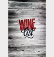 typographic retro grunge wine list design vector image vector image