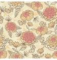 Vintage brown pink flowers seamless pattern vector image vector image