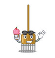 With ice cream cartoon rake leaves with wooden