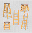 wood household steps set on transparent background vector image vector image
