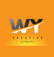 wy w y letter modern logo design with yellow vector image vector image