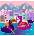 young guy and girl are resting in an swimming vector image vector image