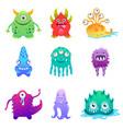 cute cartoon monsters alien characte set vector image