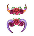 cow horns and sheep decorated with flowers vector image
