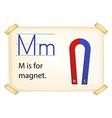 A letter M for magnet vector image vector image