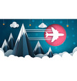 airplane cartoon cloud star vector image vector image