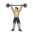 athlete weightlifting barbell sketch vector image