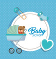 baby shower card with bear teddy in cart vector image vector image