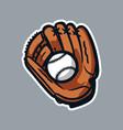 baseball gloves and ball logo icon asset vector image