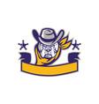 Bulldog Sheriff Cowboy Head Banner Retro vector image vector image