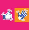 caring hand applique thumb up applique plaster vector image vector image
