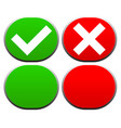 check mark and cross buttons icons vector image vector image