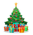 christmas tree with bulbs and gifts vector image vector image