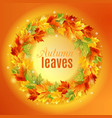 circle autumn leaves on an orange background vector image vector image