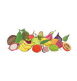 composition with delicious ripe juicy tropical vector image