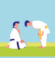 couple fighting martial arts characters vector image