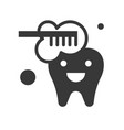 cute cartoon tooth brushing dental related solid vector image