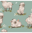 cute sheeps seamless pattern vector image vector image