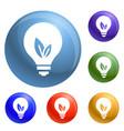 eco bulb icons set vector image