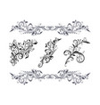 floral decorative elements set black branch vector image vector image