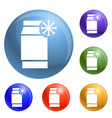 freeze pack icons set vector image