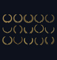 golden laurel wreath realistic crown leaf shapes vector image