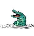 green crocodile character isolate on white vector image vector image