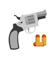 handgun revolver nagant and pistol bullet vector image