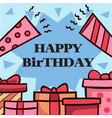 happy birthday gift box horn blue background vector image