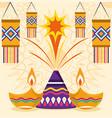 happy diwali festival fireworks lanterns lamps vector image vector image