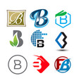 initial letter b logo pack vector image vector image