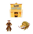 isolated object wild and west logo collection vector image vector image