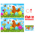 kids game find ten differences with easter chicken vector image vector image