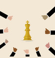 king of chess symbol with with many thumbs up vector image vector image