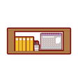 line color office shelf with folders document and vector image