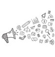 megaphone with business doodles hand drawn icons vector image