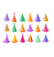 party hat icon set vector image vector image