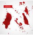Red ink splatter or blood stain texture set vector image