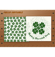 Saint Patricks Day card on wooden table vector image vector image