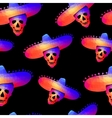 Seamless background with skull in sombrero vector image