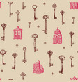 seamless pattern with old keys and buildings vector image vector image
